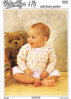 Peter Pan 692 baby cardigan vintage baby knitting by Ellisadine, £1.00