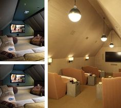 Great idea for turning that dull attic space into a dream home theater.