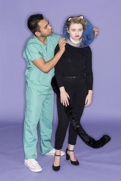 vet + sick cat couple's costume - photo by Sarah Kobos at BuzzFeed Life