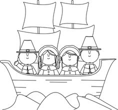 pilgrim mayflower clipart black and white - Google Search