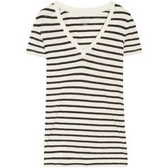 J.Crew Vintage striped cotton T-shirt ($51) ❤ liked on Polyvore featuring tops, t-shirts, shirts, tees, stripes, vintage shirts, cotton t shirts, off white t shirt, vintage t shirts and striped t shirt