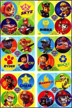 24 x Paw Patrol Stickers DOTS x (6 sheets) - Favours - Marshall/Ryder/Chase