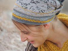 Gray Lace and Mustard- Tichel, tichel,Hair Snood, Head Scarf,Head Covering,jewish headcovering,Scarf,Bandana,apron - Datiyah.com - Modest Fashion Marketplace