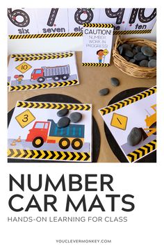 Construction Themed Number Pack - These construction themed number play mats are perfect for building number sense from preschool to first grade! With three different types of truck themed number mats included, just choose the one you want to add to your math centers, morning work or math tubs. Just print and add different materials to invite play - rocks, blocks, LEGO, playdough... so many ways to use this pack to build rich math play in the Early Years! #preschoolmath #kindergartenmath