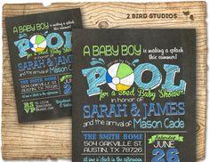 Pool party baby shower invitation summer baby by 2birdstudios