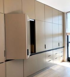 Design and production for a new flat in Prague. 4 doors system with cabinets System for Lateral Bi-Fold / Pocket Doors. Urban Style, Pocket Doors, Prague, Tall Cabinet Storage, Kitchen Cabinets, Hardware, Flat, House, Furniture