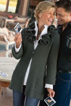 Rosette Cardigan from Soft Surroundings - great with crisp white blouse, jeans and of course, boots!