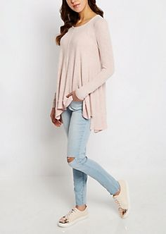Pink Marled Sharkbite Sweater