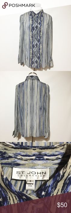 "St John Collection Silk Blouse Very good used condition. Bust approximately 20"". Length approximately 25"". St. John Collection Tops Blouses"