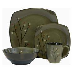 Have to have it. Sango Blossom Dinnerware - Black - Set of 16 - $59.99 @hayneedle.com