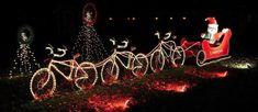 Santa bicycle christmas lights
