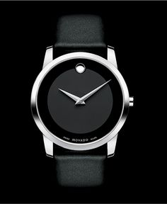 Movado Watch, Men's Swiss Museum Black Leather Strap 40mm 0606502 - Movado - Jewelry & Watches - Macy's -For D