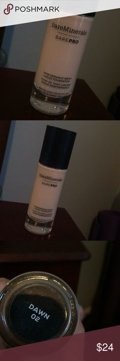 Bare minerals BAREPRO foundation. Shade: DAWN 02 Full bottle, only used once. Makeup Foundation