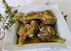 Alcachofa, como guisar alcachofas, salsa de alcachofas, Julia y sus recetas, alcachofas con jamón