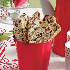 These twice-baked Italian-style cookies have flavorful cranberries and pistachios in them and finished with a sprinkling of sanding sugar...
