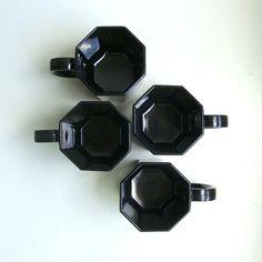 Mod Black Glass Octagon Mugs Octime Arcoroc France 1970's
