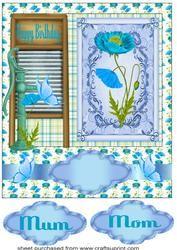 Mum/mom Blue Poppy Birthday Card Front