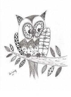 Who Says The Owl Drawing  - Who Says The Owl Fine Art Print/cute on a felt covered hoop!