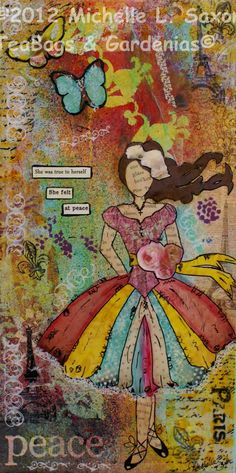 """Mixed Media """"PEACE"""" She Art PRINT 8x16. $25.00, via Etsy.  My friend, Michelle makes these art pieces."""