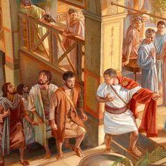 Pedro entrando en la casa de Cornelio