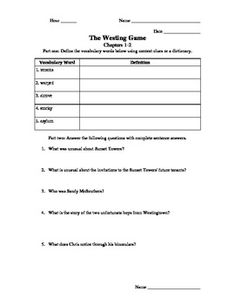 Printables The Westing Game Worksheets the westing game final test and study guides on pinterest ch 1 8 worksheetsactivities