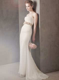White by Vera Wang! Strapless lace column gown.