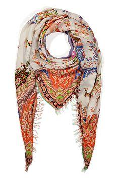 Orange-Multi Fringed Modal-Cashmere Scarf by ETRO | Luxury fashion online | STYLEBOP.com