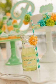 Cute drink / beverage idea for a baby shower! Via Kara's Party Ideas @HUGGIES Baby Shower Planner Baby Shower Planner