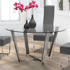 Found it at Wayfair - Brush Dining Table Glass Round Dining Table, Modern Dining Table, Dining Table Chairs, Glass Table, Dining Furniture, Round Tables, Dining Area, Round Glass, Outdoor Furniture