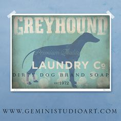 Greyhound laundry company laundry room artwork giclee archival signed artists print 12 x 16