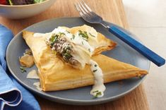 Turn ground beef and broccoli into something special with a creamy garlic sauce and crispy phyllo dough.