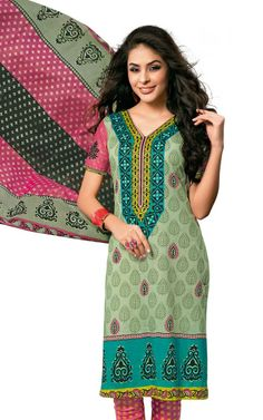 GREEN & PINK COTTON SALWAR KAMEEZ - DISH 1010