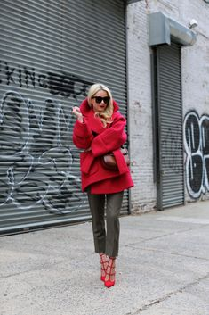 red coat with brown pants