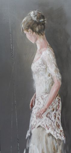 Schilderij figuratief en kleurrijk paars taupe wit charmante vrouw kleurige jurk op de - Bruin taupe schilderij ...