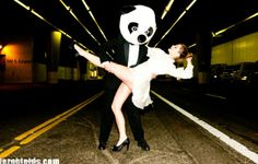 Panda play: Mischa Barton dances with a man wearing a panda bear costume in a new photoshoot for Tyler Shields