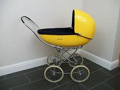 Vintage Seventies French Pram Pushchair Yellow Fiberglass Shell Egg Sleigh 1970s