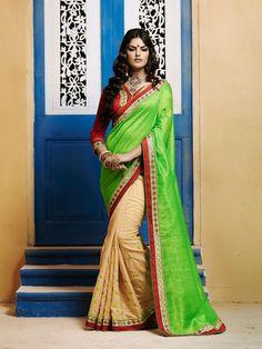 Parrot Green N Beige Bhagalpuri Silk Lovely Casual Saree