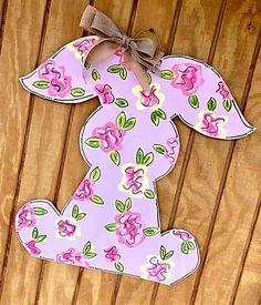 floral easter bunny // lavender + pink + yellow // bunny // bunny door hanger // door hanger // burlap bow