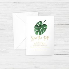 005 - 'Monstera Gold' Save the Date - Tropical, Palm, Leaves - A6 - Matching Wedding Suite Available - Custom Design
