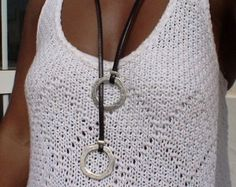 women symetric brown leather necklace with silver ring charms