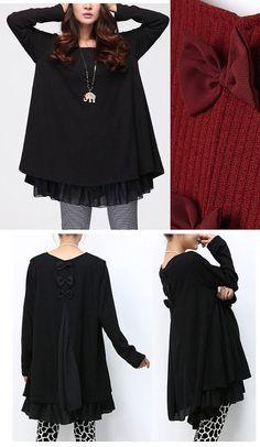 076ba32649a S-XXL 3 Bowknots Chiffon hem Cotton dress with Back Slit design loose dress plus  size dress plus size clothing chiffon dress spring autumn