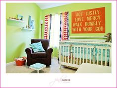 boy nursery - love the orange canvas and quote