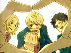 """I like how France and Spain are like """"Yay love and hearts !~"""" while Prussia is just like """"AAAAAAAY WAR AND FISTS !~""""<--- me and my friends in a nutshell Hetalia, Watch Manga, Bad Touch Trio, Animes On, Bad Friends, I Want To Cry, Usuk, History Class, Anime Crossover"""