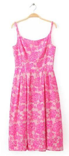 Elegant Rose Pink Jacquard Strap Party Dress.