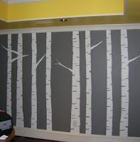 diy wall painted birch tree wall art mural gray yellow white -- I might take the method and apply this to come curtains.