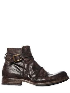 VINTAGE EFFECT WASHED LEATHER BOOTS - Brought to you by Avarsha.com