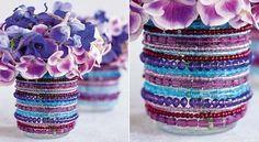 Simples floreros decorados con cuentas