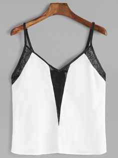 Wolovey 2017 New Style Women Sexy Casual Minimalism Stitching Sleeveless Lace Crop Tops Vest Tank Shirt Blouse Cami Top 0503 Cami Tops, Crop Top Shirts, Lace Crop Tops, Tank Shirt, Mode Top, Girl Fashion, Fashion Outfits, Dress Fashion, Mode Chic