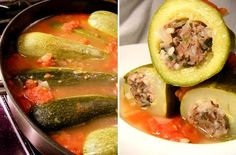 Kousa... stuffed zucchini. This version is stewed in a tomato-based soup, but it can also be made in a yogurt-based soup. I love it! It is so light and tasty. It can also be made vegetarian style by replacing the meat with just rice or rice and chopped tomatoes and squash.