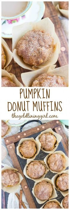 These pumpkin donut muffins are like a baked pumpkin cake donut, but in muffin form. Cakey interior, and cinnamon-sugar coated exterior! You'll just have to try them.